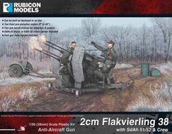 Detailed plastic model kit building a 4 barrel 20mm Flakvierling 38 anti-aircraft artillery mount along with a SdAh 51 transport or SdAh 52 ammunition carrier trailer and gun crew. Kit can be built deployed or loaded for transport.