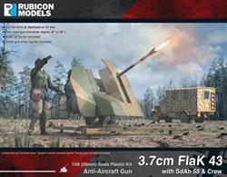 Kit to build a model of a German 3.7cm FlaK 43 anti-aircraft gun with SdAh 58 trailer and crew. Kit can be built with the gun deployed or loaded on the transport trailer.
