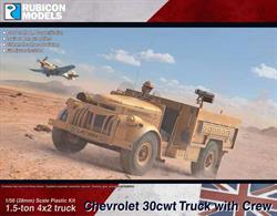 Detailed model kit building a 1:56 scale Chevrolet 30cwt truck, based on the vehicles operated by the British Long Range Desert Group (LRDG), a covert reconnaissance unit operating in North African desert during WW2.