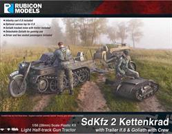 Detailed kit building a model of a SdKfz 2 Kettenkrad light artillery tractor with a detachable Goliath tracked mine, if.8 transport trailer and crew of driver and two seated passengers.