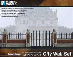 Town or city decorative stone and brick walls with railings, as found around large houses, parks etc. Sufficient pieces to assemble over 57cm/22in of wall.Number of Parts: 48 pieces / 4 identical sprues