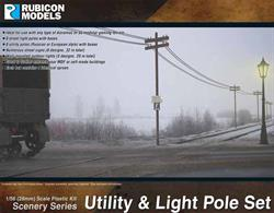 Wood utility poles suitable for modelling power supplies and telephone connections along with a set of traditional style street lights.4 identical sprues