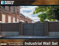 Industrial style brick and concrete walling with solid iron gates. Set containing sufficient pieces to assemble 56cm/22in of walling.