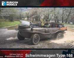 Plastic model kit of the German amphibious VW type 166 Schwimmwagen (swimming car) amphibious, used extensively by German ground forces during WW2.  It was one of the most numerous mass-produced amphibious four-wheel drive off-roaders. Number of Parts: 50 pieces / 1 sprue