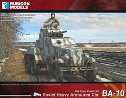 Detailed plastic kit building a model of a Soviet BA-10 heavy armoured car, the most produced Soviet pre-1941 heavy armored car with 3,311 built in three versions. Number of Parts: 50 pieces / 1 sprue + 1 cab body + 1 turret