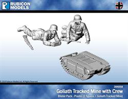 Plastic figure set with a Goliath radio-controlled tracked mine and two-man operating team in action poses.No of Parts: 19 pieces / 2 plastic sprues