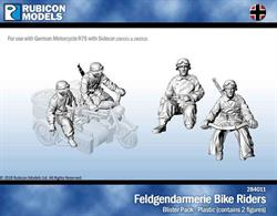 Set of 2 plastic German Feldgendarmerie military police bike riders in Kradmantel.Designed for use with the German BMW R75 motorcycle and sidecar kits 280051 & 280052.