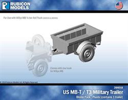 One plastic US MB-T / T3 military trailer, for use with Willys MB Jeeps, kits 280049 & 280050.No of Parts: 8 pieces / 1 plastic sprue