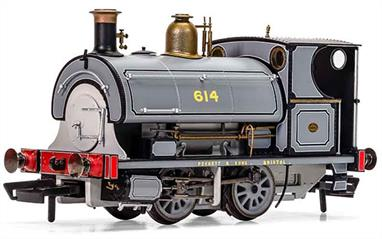 Hornby Centenary Collection.Model of Peckett W4 locomotive works number 614 finished in fully lined photographic grey livery, posing for the catalogue!