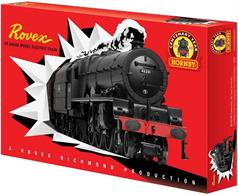 A special train set being released to mark Hornbys Centenary year.Contents to be confirmed, the released box image shows LMS Stanier Princess Royal pacific class locomotive 46201 Princess Elizabeth in British Railways black livery, presented in a retro styled box bearing the Rovex name from the 1950s and 60s.Oval of track and power controller included.