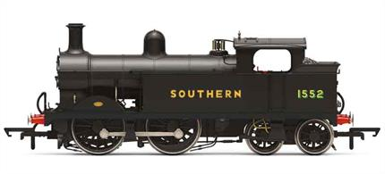 Detailed model of the SE&CR H class 0-4-4 tank engines used on branch and suburban passenger trains. Model finished as locomotive 1552 in Southern Railway 1930s black livery with sunshine lettering.