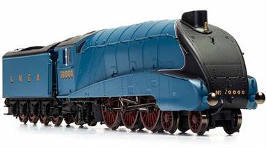 New model announced 2020, delivery expected Quarter 1 2021.The experimental locomotive 10000 had been built on the A4 chassis design and following the high pressure boiler testing was rebuilt with a conventional boiler and streamlining. Now closely resembling an A4 class locomotive 10000 ran until 1959 alongside the A4 class pacifics. This model presents 10000 in rebuilt form finished in the LNER garter blue livery applied to 10000 after rebuilding.