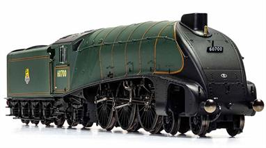New model announced 2020, delivery expected Quarter 1 2021.The experimental locomotive 10000 had been built on the A4 chassis design and following the high pressure boiler testing was rebuilt with a conventional boiler and streamlining. Now closely resembling an A4 class locomotive 10000 ran until 1959. Like the A4 class engines the wheel valances were removed to aid access for maintenance. This model presents 10000 with it's British Railways number of 60700 in lined green livery with early lion over wheel emblem.