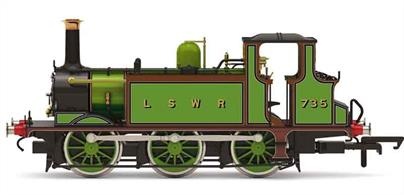 As larger locomotives entered service many of the LB&SCR A1 and A1X Terrier engines were sold to other railways for lighter duties. 68 was sold to the LSWR, the London South Western Railway, becoming their number 735 and used on a number of the that companys' West Country branch lines