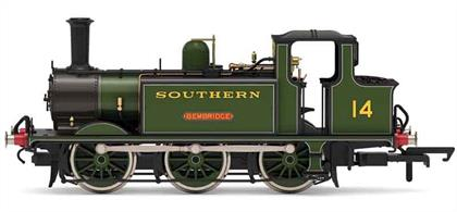 As larger locomotives entered service many of the LB&SCR A1 and A1X Terrier engines were sold to other railways for lighter duties and a number bought by the Isle of Wight companies. 14 was sent to the island by the Southern Railway in 1929, fitted with the distinctive enlarged bunkers fitted to the island locos and is modelled in Maunsell era lined green livery with the name Bembridge.