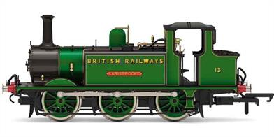 Detailed new model of BR Isle of Wight Terrier 13 Carisbrooke finished in initial post-nationalisation livery of Southern malachite green sign-written BRITISH RAILWAYS in the sunshine lettering style.