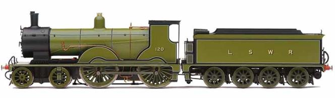 Detailed model of LSWR T9 class 4-4-0 number 120 finished in LSWR sage green livery. This is the preserved example of the class which, with it's aesthetically pleasing design, still looks like an express passenger engine today. Traction tyres on the driving axles allow this small engine to haul a realistic train.