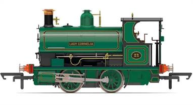 Detailed model of Peckett W4 class 0-4-0 saddle tank shunting engine works number 834 built in 1900 for the Dowlais Ironworks. Numbered 33 and named Lady Cornelia the engine carried this decoratively lined out green livery with black cab panel edging and incised corners.