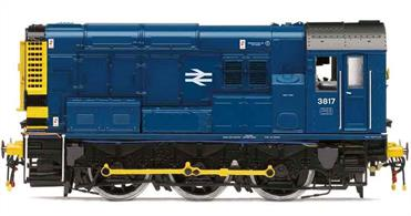 Highly detailed model of BR class 08 diesel shunting engine 3817 painted in BR blue livery with wasp striped ends.This model is fitted with Hornby's Twin Track Sound' TTS) DCC controlled sound system which provides very realistic sounds for the 08.