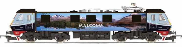 Nicely detailed model of DB Cargo class 90 electric locomotive 90024 finished in the Malcolm Rail photograph livery featuring a vista of the North West highlands of Scotland advertising greener, cleaner logistics service by rail haulage.