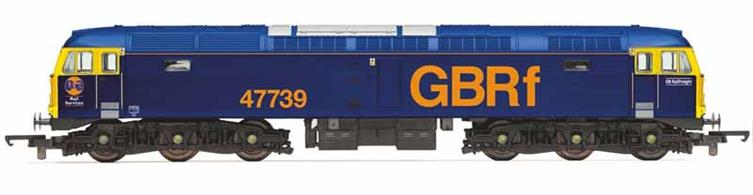 Hornby Railroad range model of GB Railfreight class 47/7 diesel locomotive 47739, one of a number of class 47 locomotives operated by GBRf to haul passenger train services like the Caledonian Sleeper.
