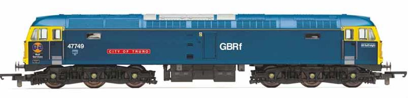 Nicely detailed model of GB Railfreight class 47 locomotive 47749 City of Truro painted in British Railways rail blue heritage livery with the addition of GBRf and Rail Services lettering. This locomotive was purchased by GBRf to assist with Caledonian Sleeper operations over non-electrified routes.