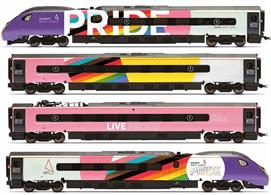 On the 25th of August 2020 Avanti West Coast unveiled a new livery for one of its train-sets. Billed as the biggest Pride flag the UK has seen on the side of a train, the new livery wraps the full length of the 11 carriages in the Progressive Pride flag colours. The first service of this newly liveried train was staffed by a LGBTQ+ crew with the train filled with literature, stories and colourful posters featuring Pride related information as well as fun facts during the onboard announcements. It was announced in mid-October, after asking the public to submit suggestions, that the train would be named 'Progress'. Five additional coaches in Avanti Pride livery are available allowing this set to be expanded up to a 9-car set. The coaches required to do this are R40196 – R40200.