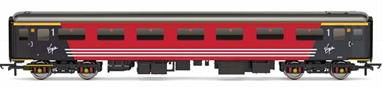 Detailed model of Virgin Trains Mk2F FO first class open coach 3340 in Virgin red livery