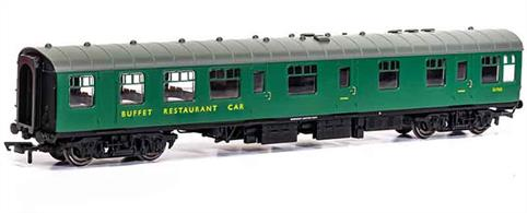 New tool model of the BR Mk1 RB Restaurant Buffet S1720.These coaches had a large kitchen able to provide full meal service.