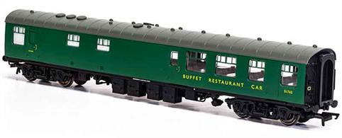 New tool model of the BR Mk1 RB Restaurant Buffet S1757.These coaches had a large kitchen able to provide full meal service.