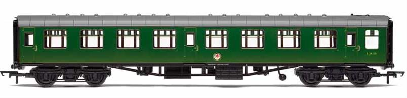 Model of a British Railways Mk1 second class side corridor coach (SK) finished in Southern region green livery