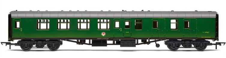 Nicely detailed model of British Railways Mk.1 coach S34967, a brake second class corridor coach allocated to the Southern region and painted in green livery to match the Southern regions' EMU trains.