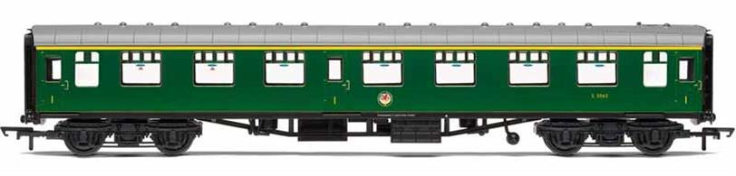 Detailed model of  British Railways Mk.1 FO first class open coach S3065 finished in BR Southern region green livery
