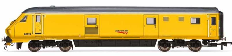 Detailed model of Mk3 DVT Driving Van Trailer control coach 82129 used by Network Rail; as a control trailer to operate test and measurement trains in push-pull mode. Finished in engineering yellow livery.
