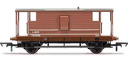 Detailed model of LMS diagram D1919 20ton goods train guards brake van 730386 finished in LMS bauxite livery with post-1934 small lettering.These smooth riding long wheelbase brake vans