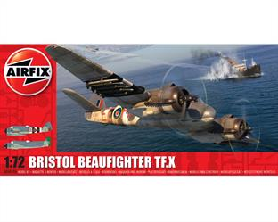 Airfix A04019A 1/72nd Bristol Beaufighter TF.X World War 2 Fighter Bomber KitNumber of parts 120  Length 175mm  Wingspan 246mm