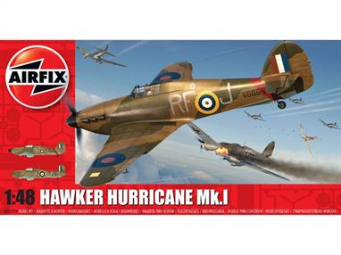 Airfix A05127A 1/48th Hawker Hurricane Mk.1 RAF Fighter Aircraft KitNumber of Parts 127  Length 204mm   Wingspan 253mm