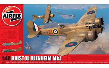 Airfix A09190 1/48th Bristol Blenheim Mk.I Fighter Aircraft Plastic KitNumber of Parts 216  Length 270mm  Width 357mm