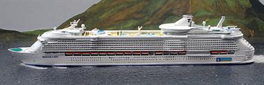 A 1/1250 scale model of Freedom of the Seas, the Royal Caribbean cruise ship which was the largest passenger ship in the world when she entered service in 2006. The model is made by CM Miniaturen CM-KR276.