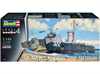 Revell 05169 1/144th US Navy Landing Ship (Bofors 40MM Gun) KitNumber Parts 414  Length 443mm