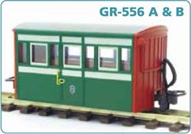 Detailed model of the Festiniog Railway 'Bug Box' enclosed third class coach. A typical early Victorian era design of 4-wheel narrow gauge coach.Early preservation era green livery.