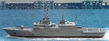 A 1/1250 scale model of Comandante Cigala Fulgosi P 490 a patrol ship of 2002 for Italy by Twelve-Fifty Models cast and finished by Rhenania.