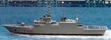 A 1/1250 scale waterline ship model of Comandante Bettica P 492 of Italy in 2002 by Twelve-Fifty Models cast and finished by Rhenania TF013C