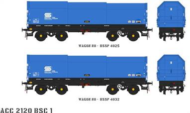 Two detailed models of the British Steel JSA covered steel coil carrier wagons with posable steel plate hoods.Pack BSC1 contains blue British Steel livery wagons numbers BSSP 4025 and BSSP 4032