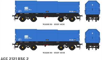 Two detailed models of the British Steel JSA covered steel coil carrier wagons with posable steel plate hoods.Pack BSC2 contains blue British Steel livery wagons numbers BSSP 4036 and BSSP 4048