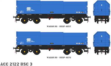 Two detailed models of the British Steel JSA covered steel coil carrier wagons with posable steel plate hoods.Pack BSC2 contains blue British Steel livery wagons numbers BSSP 4057 and BSSP 4076