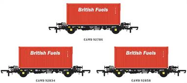 Detailed models of the low-floor PFA container wagons built for Cawoods for carrying open box coal containers. These wagons have also been used for containerised gypsum, military traffic and by DRS for conveying waste containers for the nuclear industry and as spacer and barrier wagons.Pack of 3 wagons with British Fuels coal containers. 4 different packs are available with code suffixes E, F, G and H