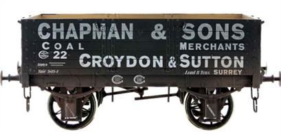 A new detailed model of a 5 plank open wagon following the RCH 1887 specifications and modelled from the production of the Gloucester Railway Carriage and Wagon Company finished as a wagon owned by Chapman & Sons coal merchants.