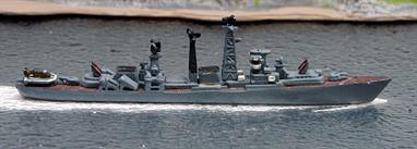 A 1/1250 scale second-hand waterline metal model of a Kashin-class a guided missile destroyer of the Soviet Union. The maker is unknown but may be HDS and the decks have been painted brown  see photograph.