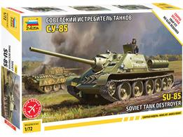 Zvezda 5062 1/72nd Soviet SU-85 Self Propelled Gun Snap KitNumber of Parts 81  Length 115mm